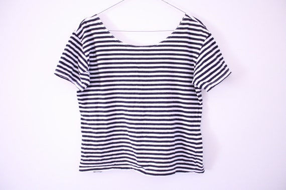 Perfect 90s Striped Round Neck Tee / Crop Top