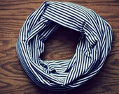 Navy Blue and White Striped Infinity Scarf (Child)