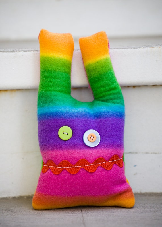 Handmade Plush Rainbow Monster - Hannah