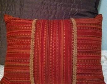 Rich burgundy print pillow
