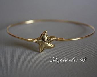 Starfish Gold Bangle Bracelet Nautical jewelry
