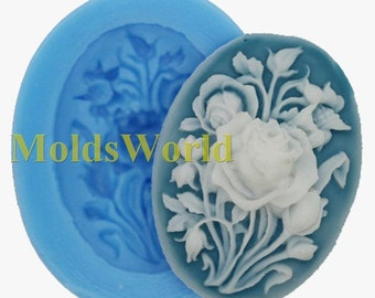 A401 Rose Flower Cabochon Polymer Clay Mold Food Grade Silicone Silicon Mould 40x30mm