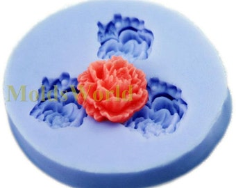 A152 Mini Peony Flower Cabochon 3 Cavities Flexible Silicone Mold Mould for Crafts, Jewelry, Scrapbooking,  (resin, pmc, polymer clay)