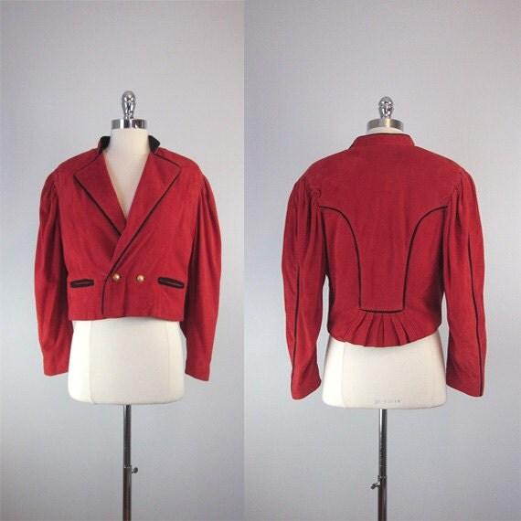 vintage BALENCIAGA suede jacket / vintage suede coat / military / les arts / 1980s