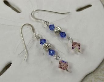 SALE Blue Earrings and Pink, Swarovski Crystal Earrings, Sterling Silver Earrings