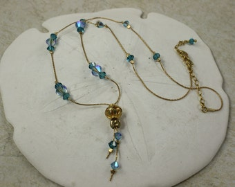 SALE Blue Necklace Delicate Crystal, Gold Necklace