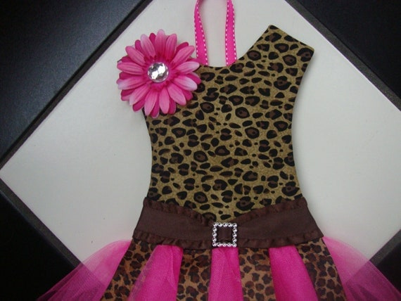 Boutique TuTu Hair Bow Holder  Leopard Hot Pink Cute