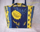 Provence Market Bag, Shopping Bag, Purse in Blue and Yellow French Provencal Fabric with Sunflowers, Olives and Lemons