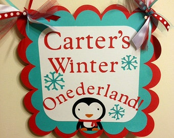 Winter Onederland Door Sign, Winter Wonderland, Penguin Birthday, Penguin party