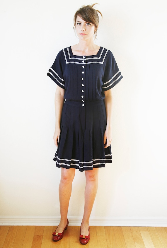 Nautical Inspired Romper Shorts Navy Blue  Large Vintage 80s does 40s Sailor Girl