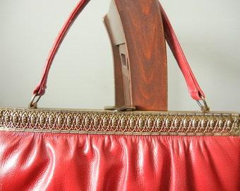 Vintage West German Leather Handbag Cranberry Red Purse MIrror Change Purse Bronze Filegree Hardware Cherry Reg Bag Large Handbag