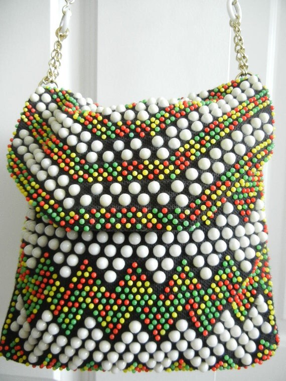 Vintage Beaded Bag 1960s Red Green and Gold Beads  Very  Hip Looking Bag Great Condition