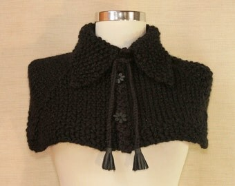 Poncho Cape, Black Cape, Knit Poncho, Wool Cape, Sweater Cape,  Knit Capelet, Sweater Scarf, Winter Gift For Her, Cable Knitted Chunky Cowl