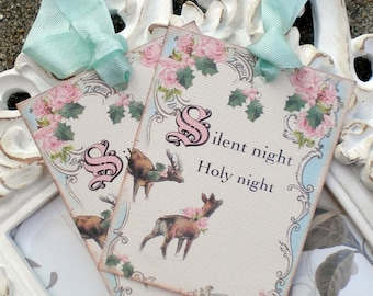 Silent Night Tags - Shabby Christmas Tags - Set of 6