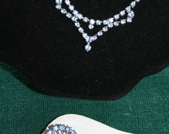 Light Blue Rhinestone Necklace and Twin Pins/Brooches