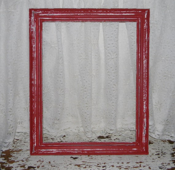 Farmhouse Red Picture Frame Reclaimed Vintage Distressed Home Decor 11 x 14 SALE