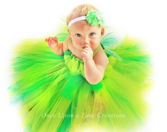 Green Baby Pixie Tutu Dress - Halloween Costume - Newborn 3 6 9 12 18 Months - Little Green Fairy Pageant or Birthday Outfit