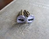 Mustache Cuff Links on Lavander - Hand Painted