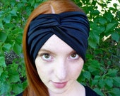 RESERVED FOR GEORGIA: Custom Made Bridal Hair Turban Headband Black, 100% Silk Jersey with Button Closures