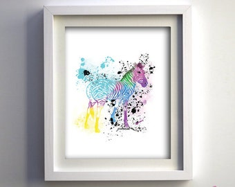 PRINT Hand Drawn Colorful Zebra Fine Art Print