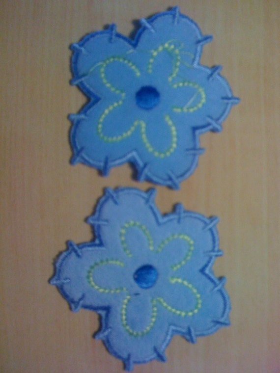 Four Iron on Blue Flower Appliques A-4