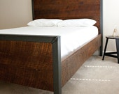 Modern King Bed - Reclaimed Wood and Raw Steel- Dylan Design Co.