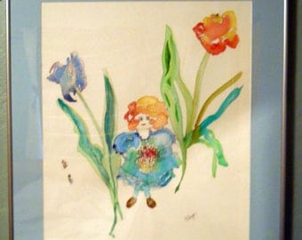 Tulip Girl Watercolor, Cottage Chic, Watercolor, Little Girl, Red Hair, Blue Dress,Original, Girl with Tulips, Fromglentoglen