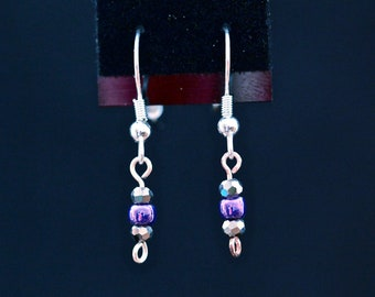 Tiny Purple and Crystal Drop Earrings