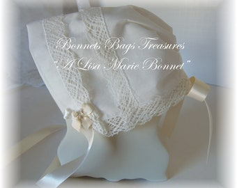 Heirloom Baby Bonnet IVORY Filigree Park Avenue lace great gift for baby showers Christening and Dedications - Magic hanky bonnet