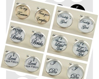 16mm Father of Bride Groom Wedding Instant Digital Download 16mm Round Circle Graphic 4x6 Sheet.  Great for Cuff Links Tie Clip