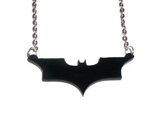 Batman Necklace, The Dark Knight Logo, Comic Book Superhero Necklace