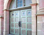 Architecture photography, Door, Santa Barbara California, pink - Mission Doors 8x12 signed fine art photograph
