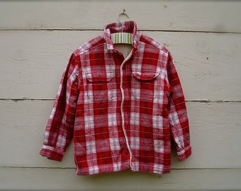 VINTAGE red plaid jacket for boys , for little boys (sz 6-7)
