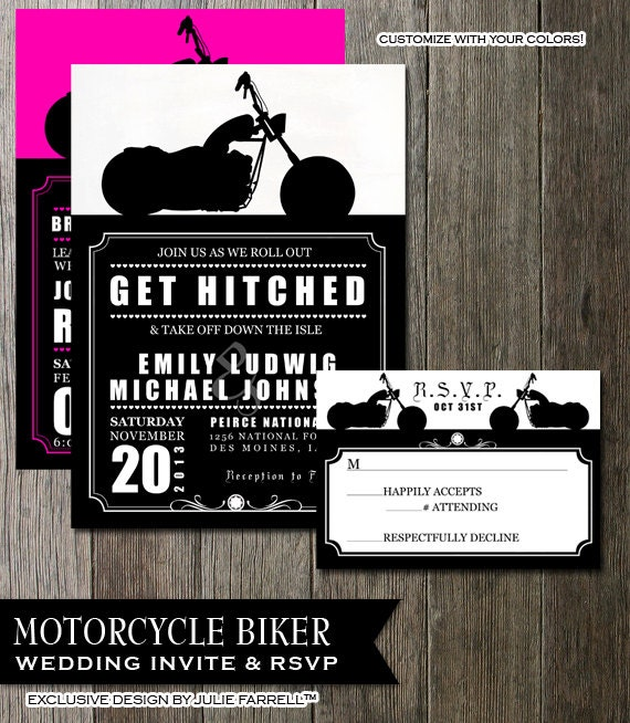 Elegant Biker Motorcycle Wedding Invitation, DIY Printable Digital Invite And RSVP  Card, Rocker Wedding, Biker Wedding, Harley Inspired DIY Invite
