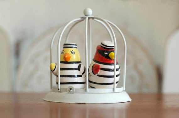 RESERVED FOR Luissa...Vintage Rare Salt and Pepper Shakers Fitz and Floyd  - Jail Birds in Cage