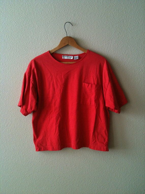 1980s Red Crop Boxy Fit T-Shirt