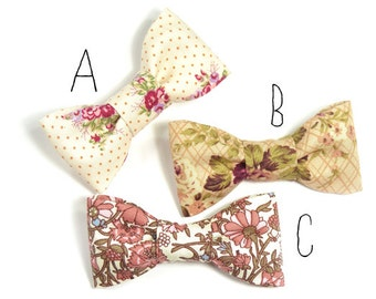 Men Cream, light yellow and orange pink flowers bowtie  Country Wedding tie Kids Bow Tie  Choose One