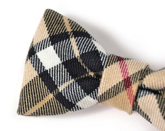 Men College black and beige plaid bowtie - Baby, toddler boys tie  Kids Clip-On Bow Tie