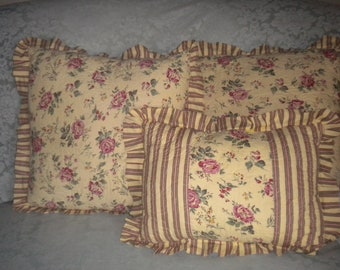 Set of 3 Shabby Chic,French country,Cottage Quilted pillows