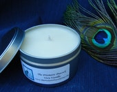 Very Vanilla Scented Soy Candle 8 oz Silver Travel Tin White