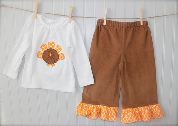 PERFECT for THANKSGIVING and FALL ruffle pant set- brown corduroy ruffle pants with turkey applique top  6-12mo,12-18mo,18-24mo,2,3,4,5,6