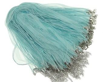 "25 pcs - Sky  blue -  Organza ribbon waxed cotton cord necklace 18"" plus 2"" extension"