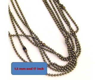 Sale- 40pcs - Antique bronze  -  Ball chain necklace with ball chain connectior, cadmium free. 17 inch strand 1.5 mm