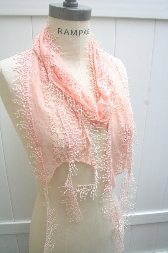 Pink Lace Scarf  Women Scarves SKINNY Lace Scarfs Fall Fashion-  By PIYOYO