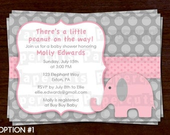 Elephant Theme Baby Shower Party Invitation | Pink & Grey | Personalized | Printable DIY Digital File