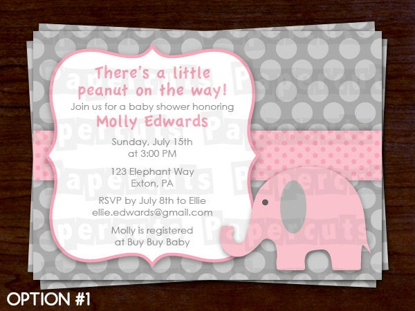 Elephant Theme Baby Shower Party Invitation Pink & Grey