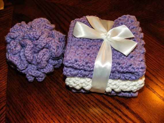 100 Percent Cotton Crochet 3 Wash Cloths and Shower Puff Loofah Bath Gift Set Machine Washable and Dryable Absorbent Custom Colors