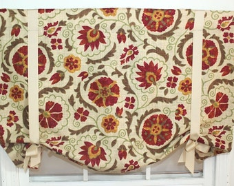 """Rowtondo tie up multi colored valance 50"""" w x 26"""" long lined"""