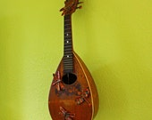 Dragonfly mandolin - repurposed wall art with copper dragonfly sculptures - by Mark
