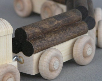 Wooden Log Car, unpainted.